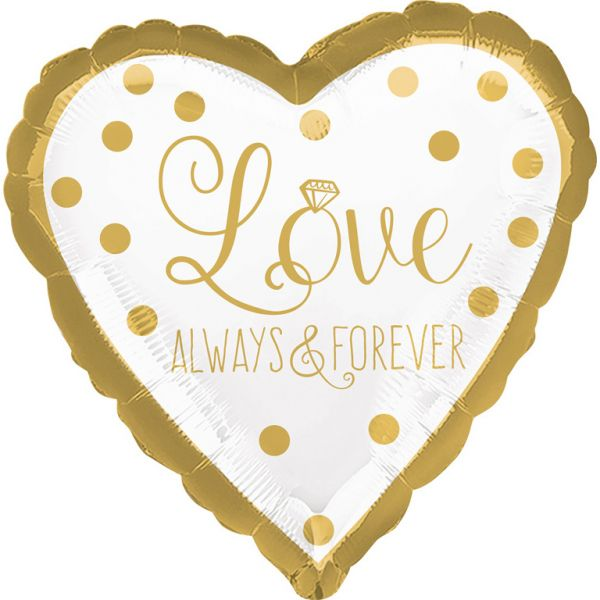 Love Always Herz Gold Folienballon 43 cm