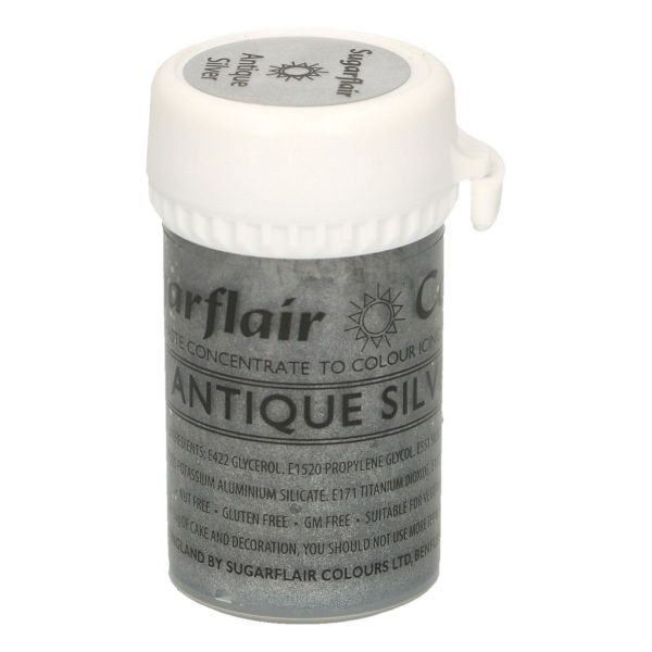 Sugarflair Pastenfarbe Satin - Antique Silver
