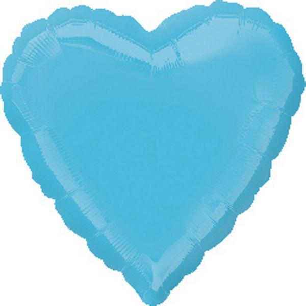 Herz Karibikblau Metallic Folienballon 43 cm