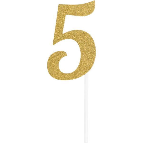 Gold Glitter Birthday Cake Topper 5