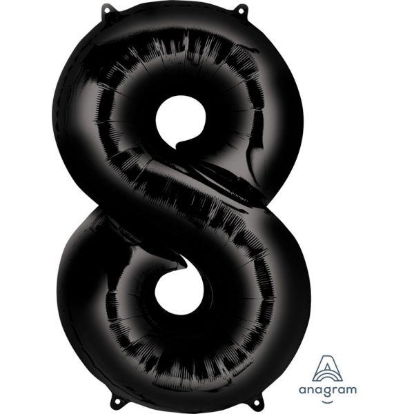 Zahl Schwarz - 8 Folienballon 53 X 86 cm