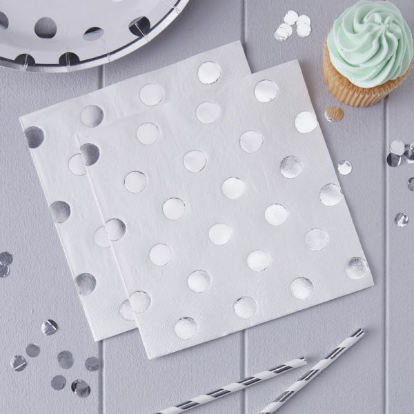 Silver Foiled Polka Dot Servietten - Pick And Mix
