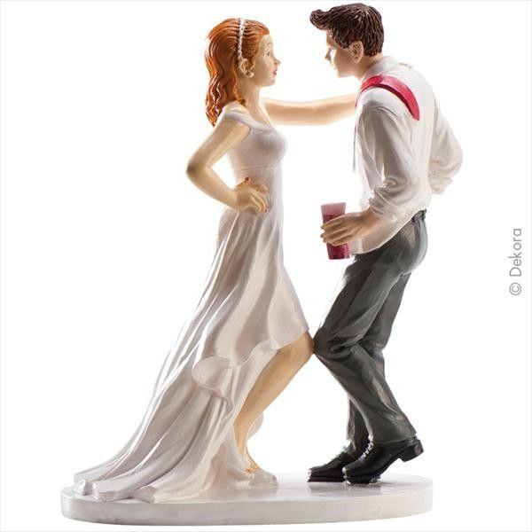 Brautpaar mit Drinks 18 cm