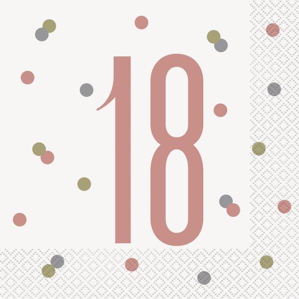 Birthday Glitz Rosegold Servietten 18