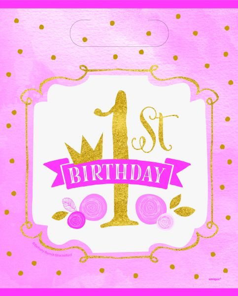 Gold & Pink 1st Birthday Partybags