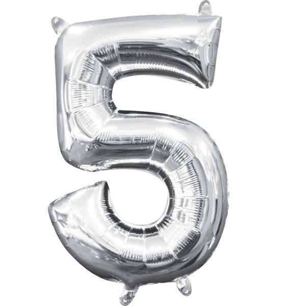 Mini Zahl Silber - 5 Folienballon 22 X 33 cm