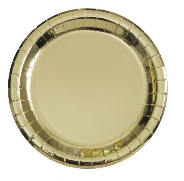 Gold Foil Pappteller 18 cm/8
