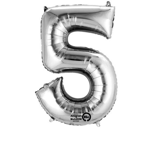 Zahl Silber - 5 Folienballon 58 X 86 cm