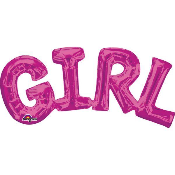 Girl Pink Schriftzug Folienballon 55 X 25 cm