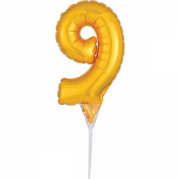 Cake Topper Gold Zahl 9 Air-Filled