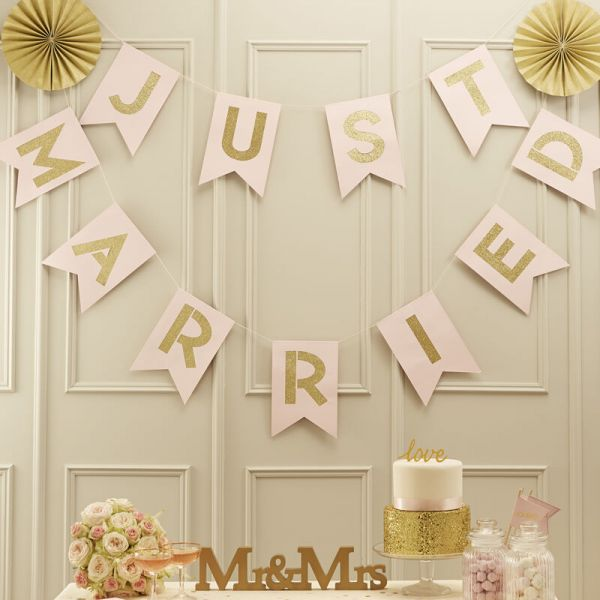 Pink & Gold Just Married Pastel Perfection