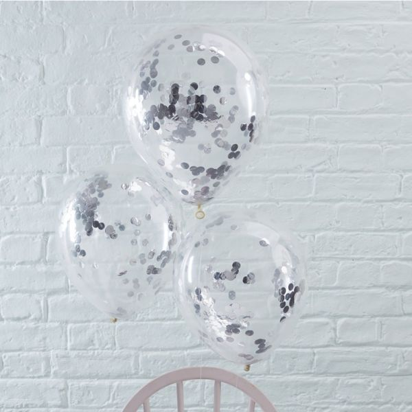 Clear Ballon Mit Konfetti Silver/5