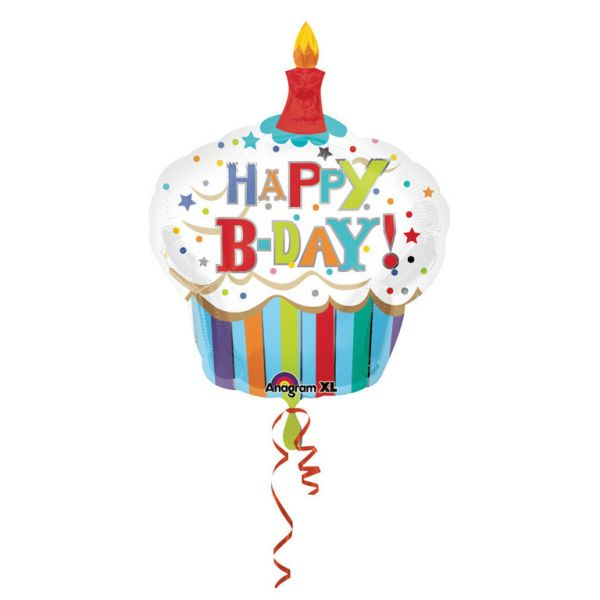 Happy B-Day Cupcake Folienballon 74 X 91 cm