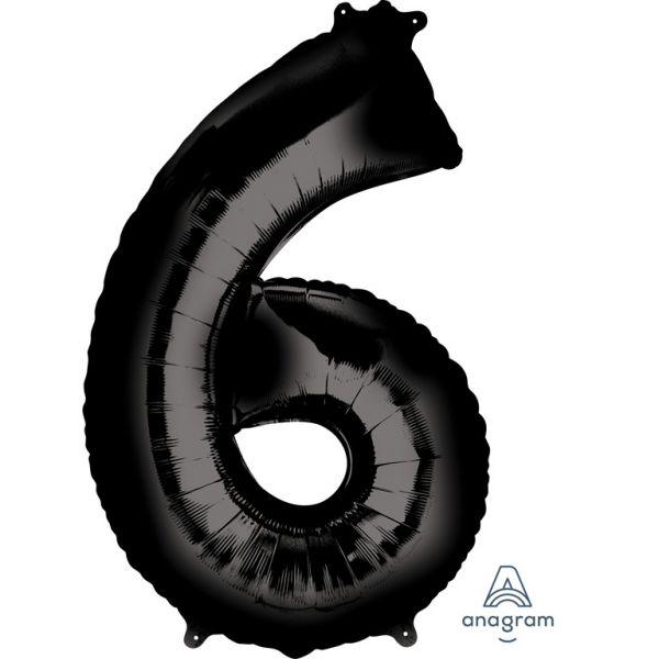 Zahl Schwarz - 6 Folienballon 55 X 86 cm